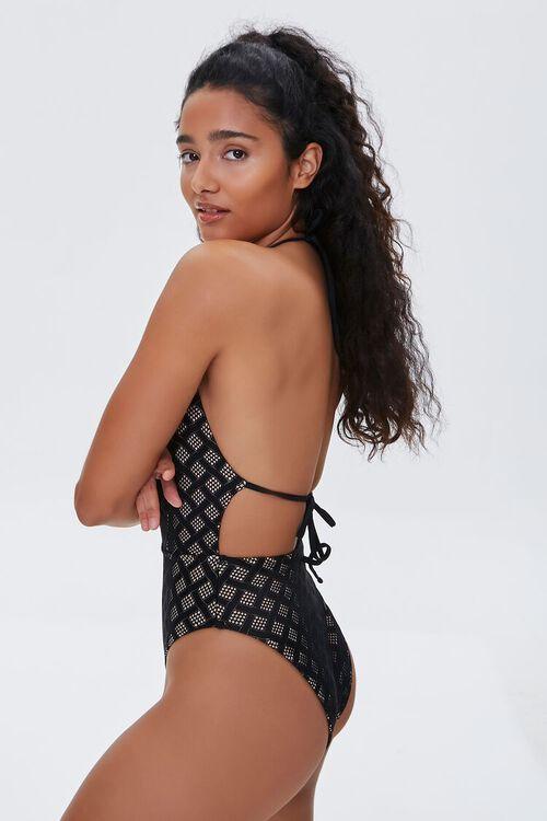 BLACK/NUDE Geo Print Halter One-Piece Swimsuit, image 3
