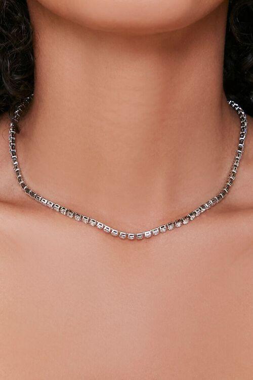 SILVER Rhinestone Box Chain Necklace, image 1