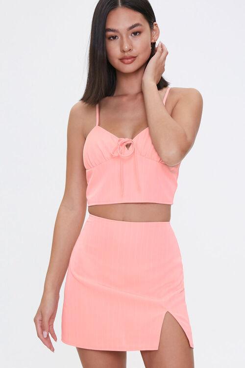 BLUSH/WHITE Sweetheart Cami & Mini Skirt Set, image 1