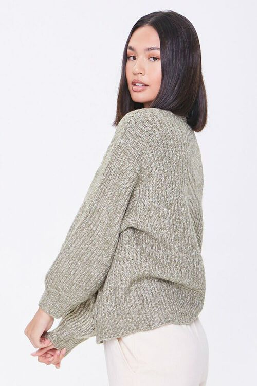 GREEN Ribbed Drop-Sleeve Sweater, image 2
