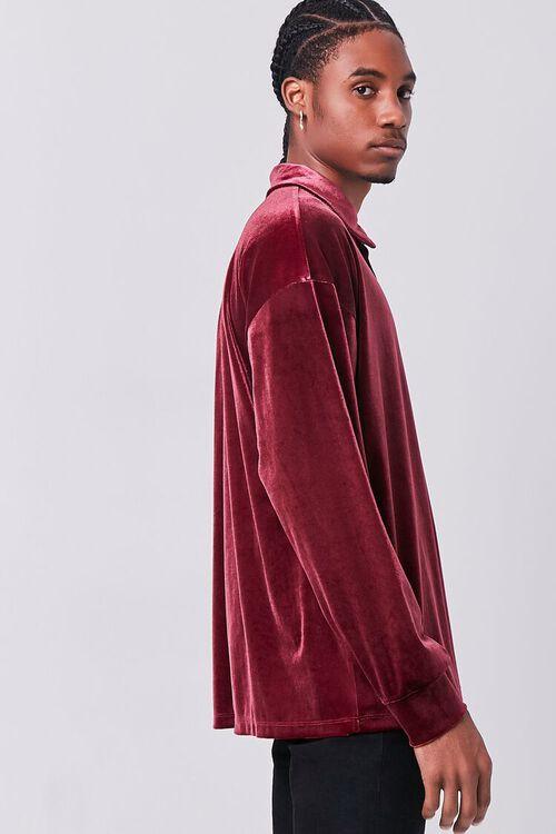 BURGUNDY Velour Long Sleeve Polo, image 2