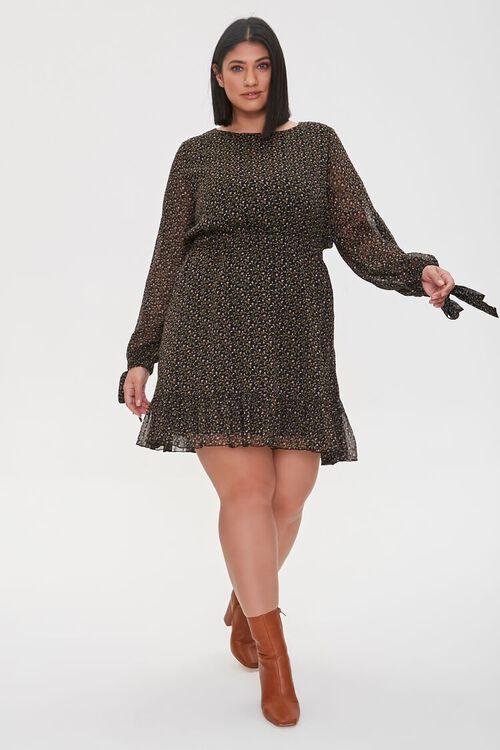 Plus Size Chiffon Ditsy Floral Dress, image 1