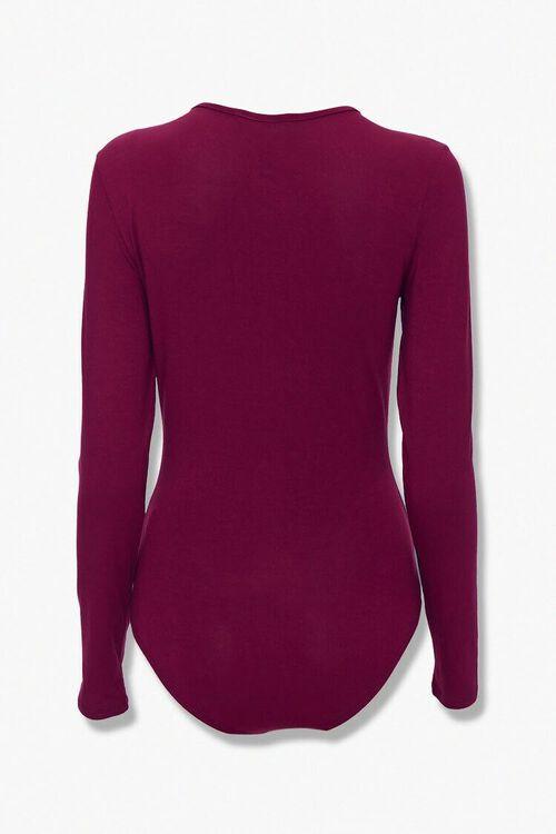 BURGUNDY Button-Front Bodysuit, image 3