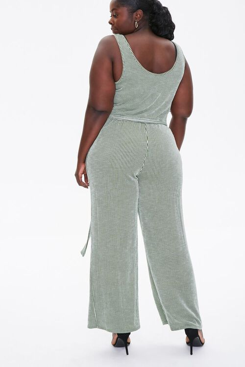 Plus Size Ribbed Pinstriped Jumpsuit, image 4