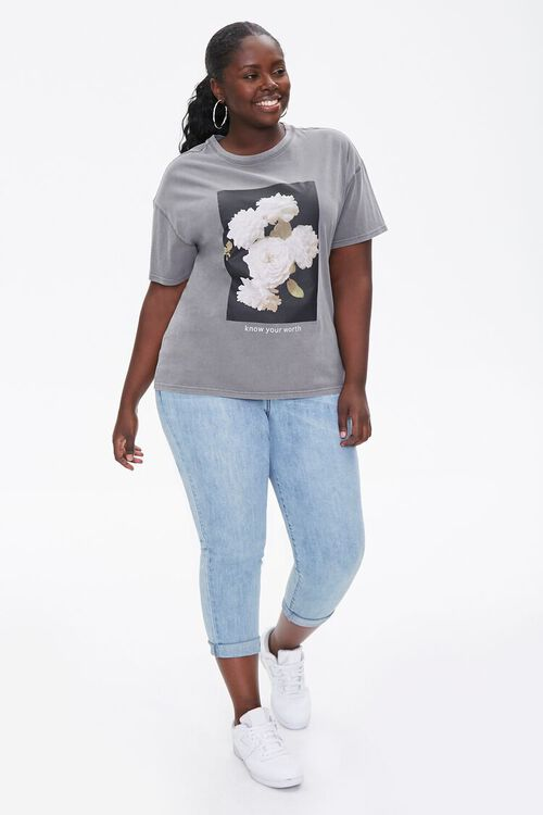 Plus Size Floral Graphic Tee, image 4