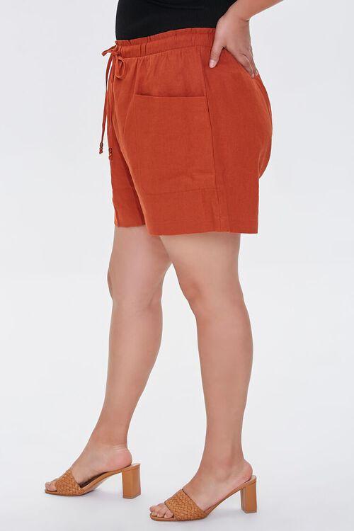 Plus Size Linen Paperbag Shorts, image 3