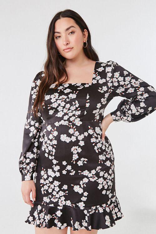 Plus Size Floral Satin Dress, image 1