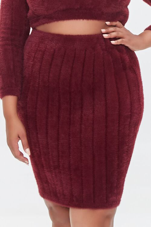 BURGUNDY Plus Size Crop Top & Skirt Set, image 6