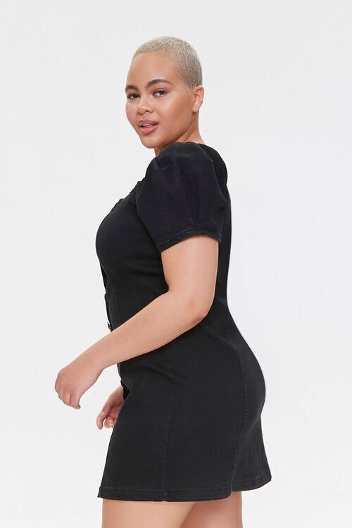 Plus Size Chambray Puff-Sleeve Dress, image 2