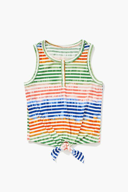 CREAM/MULTI Girls Knotted Self-Tie Top (Kids), image 1