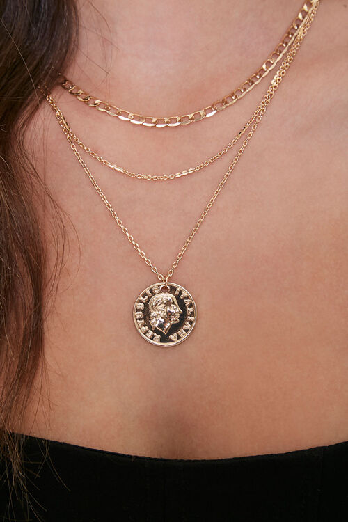 Ancient Coin Pendant Layered Necklace, image 1