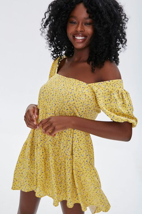 Floral Puff-Sleeve Mini Dress, image 1