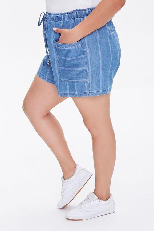 Plus Size Striped Denim Shorts, image 3