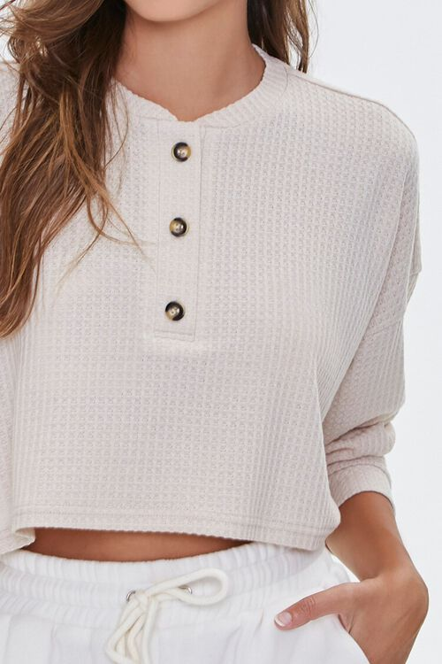 Waffle Knit Henley Top, image 5