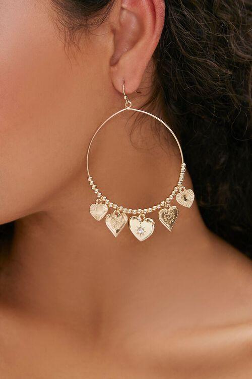 GOLD Heart Charm Hoop Earrings, image 1