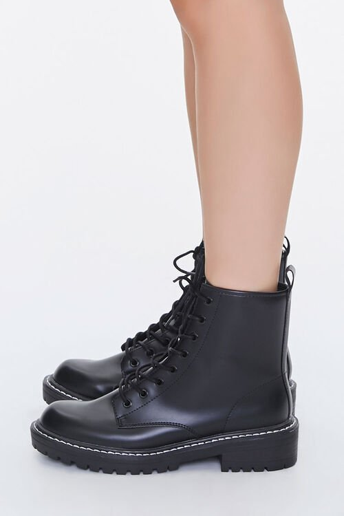 Faux Leather Lace-Up Booties, image 2