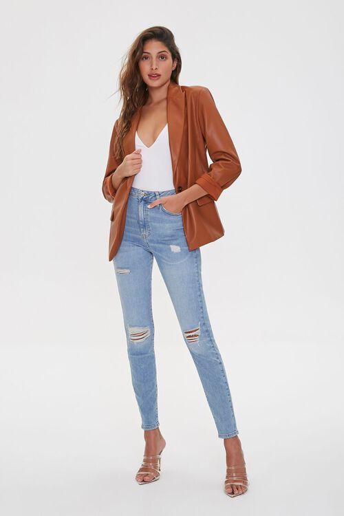 Faux Leather Blazer, image 4