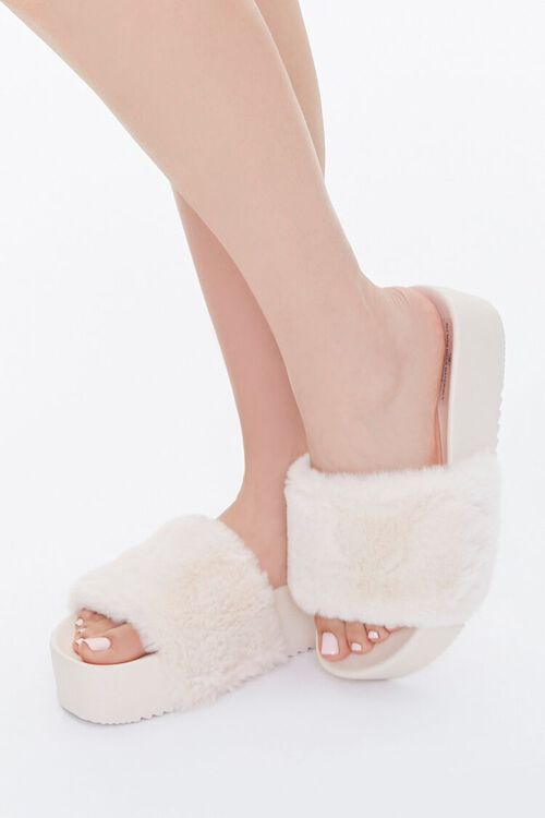Faux Fur Wedge Slippers, image 1