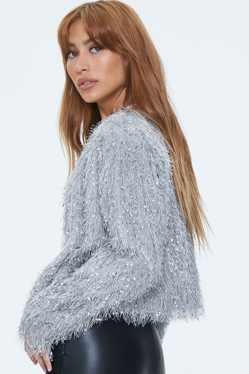 Shaggy Knit Open-Front Jacket, image 2