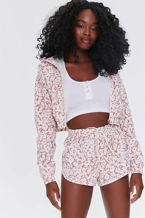 MAUVE/WHITE Active Floral Print Shorts, image 1