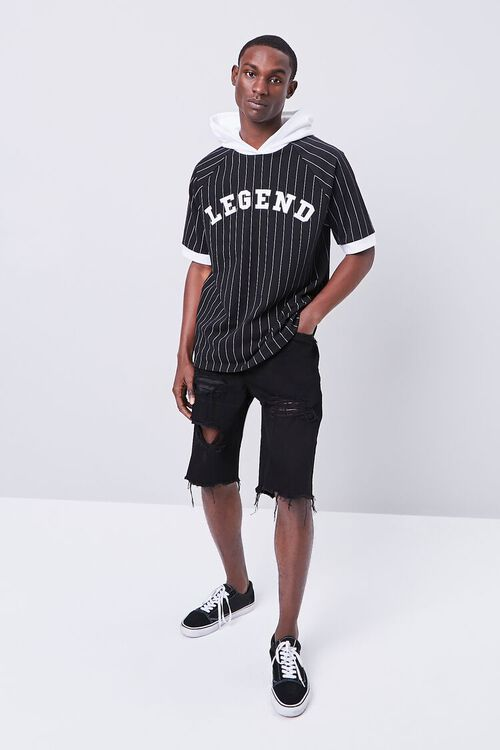 BLACK/WHITE Legend Graphic Striped Hooded Top, image 4