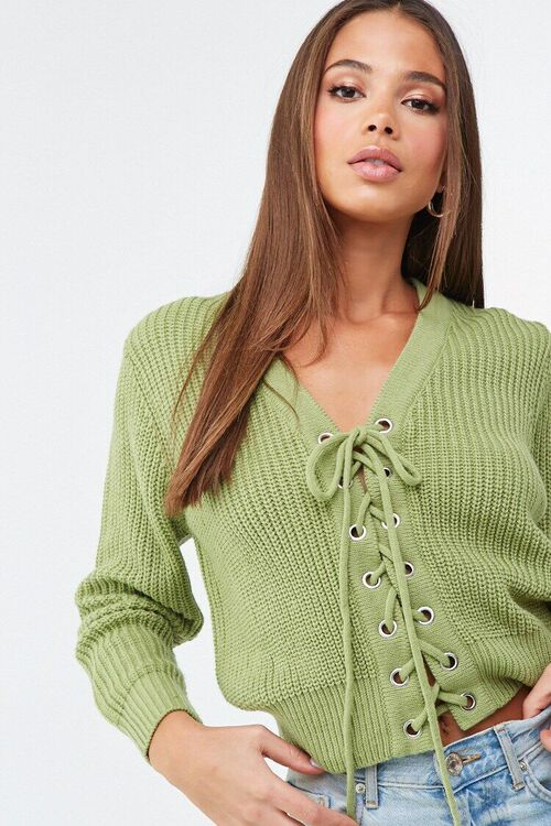 Ribbed Lace-Up Sweater, image 1