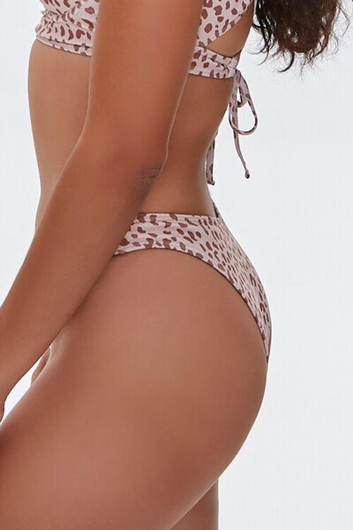 TAN/BROWN Cheetah Print High-Leg Bikini Bottoms, image 2