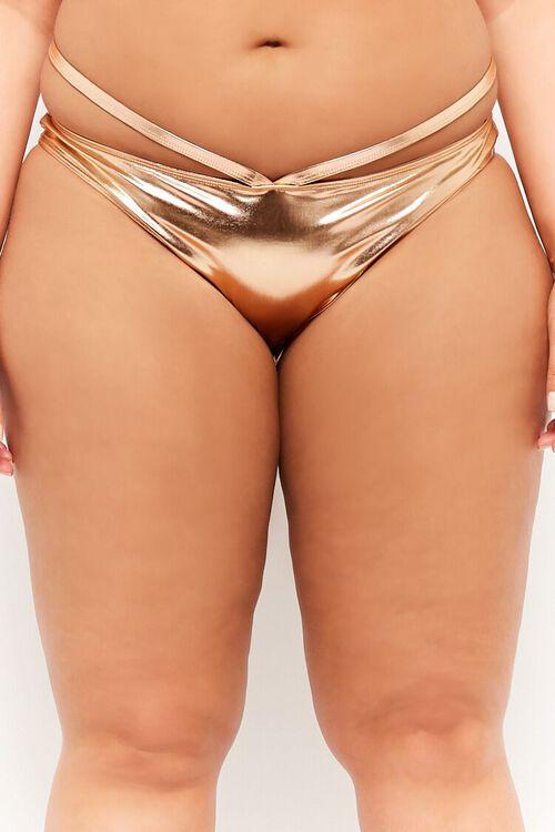 Plus Size Metallic Strappy String Bikini Bottoms, image 2