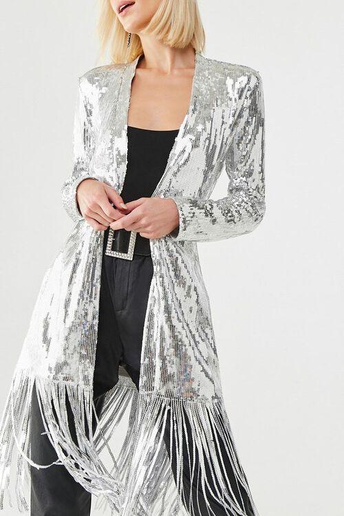 Sequin Fringe Wrap Coat, image 1