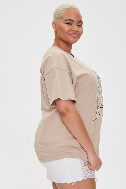 Plus Size Woman Line Art Graphic Tee, image 2