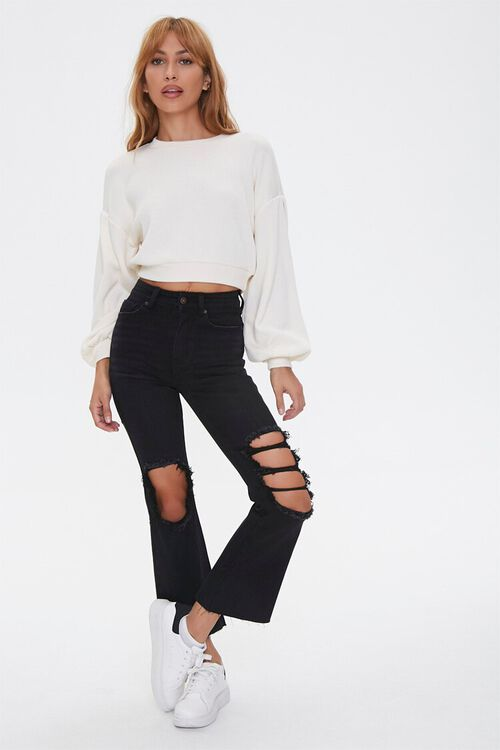 Distressed Flare Ankle Jeans, image 1