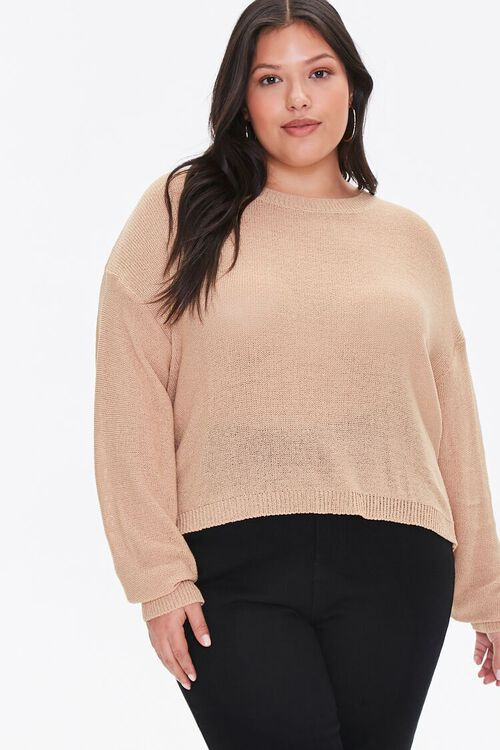 Plus Size Ribbed-Trim Sweater, image 1