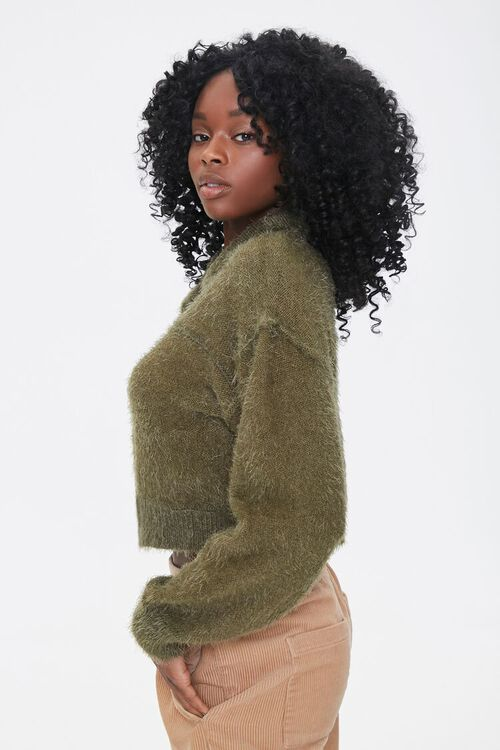 Fuzzy Knit Cardigan Sweater, image 2
