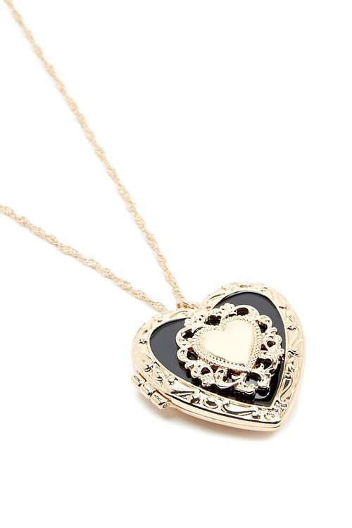 Heart Locket Rope Chain Necklace, image 3