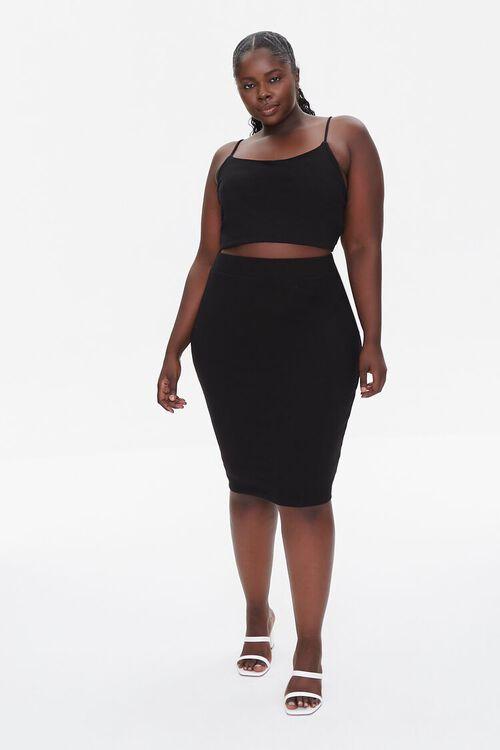 Plus Size Cropped Cami & Pencil Skirt Set, image 4