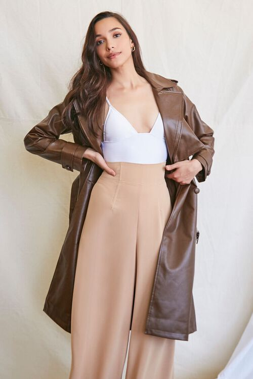 BROWN Faux Leather Trench Coat, image 4