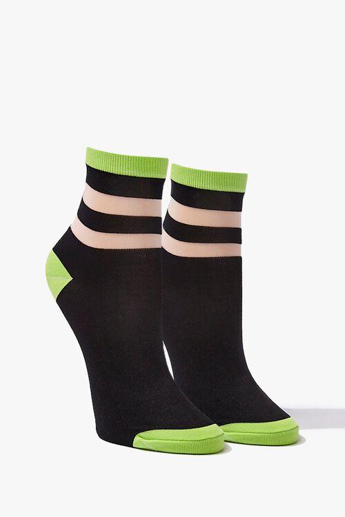 Colorblock Striped-Trim Crew Socks, image 1