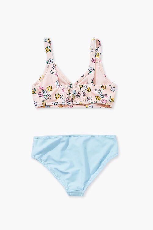 Girls Floral Print & Contrast Bikini (Kids), image 2