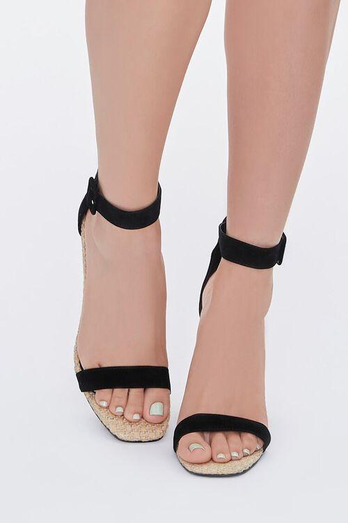 BLACK Faux Suede Basketwoven Block Heels, image 4