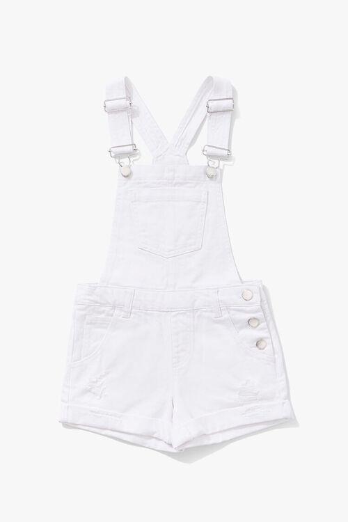 Girls Denim Overall Shorts (Kids), image 1