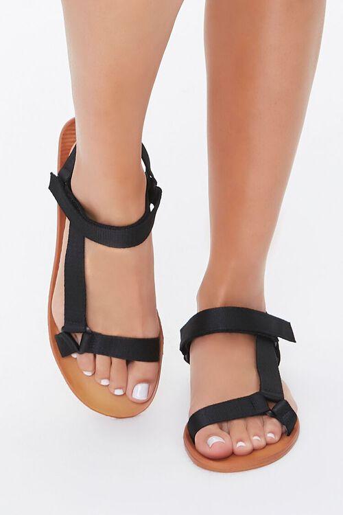 BLACK Adjustable Caged Flat Sandals, image 2