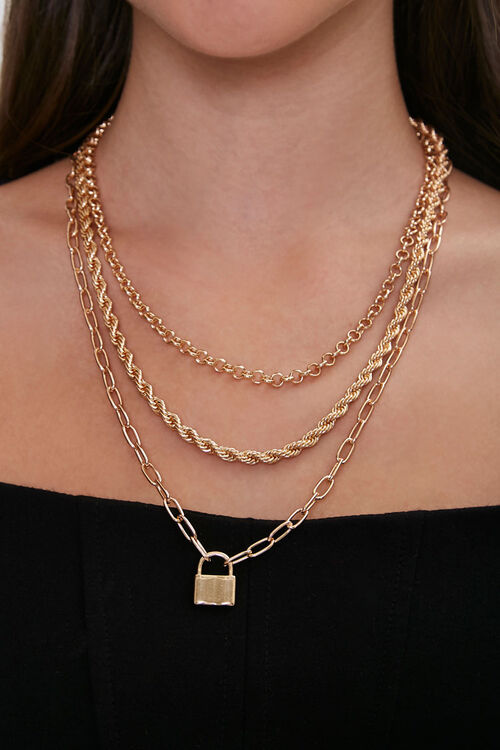 Layered Lock Pendant Necklace, image 1