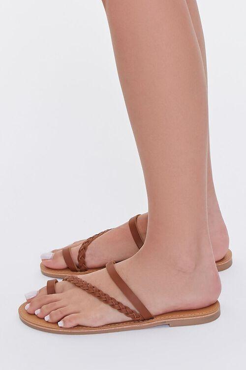 BROWN Braided Toe Loop Sandals, image 2