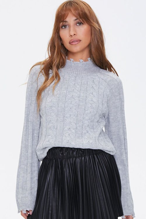Distressed Cable Knit Sweater, image 1