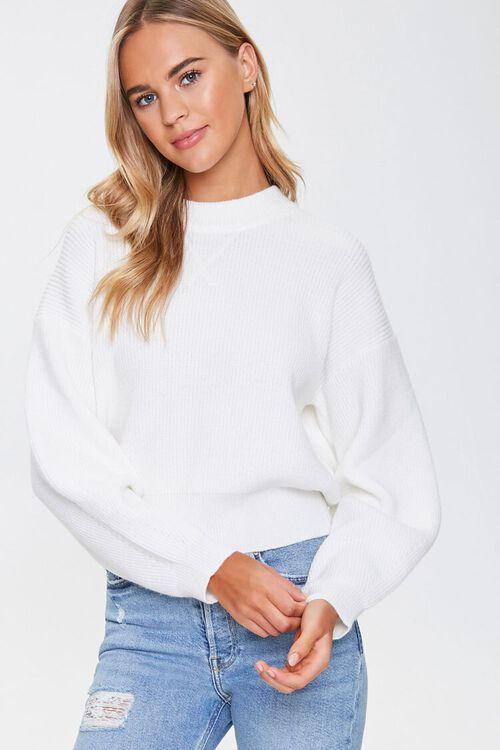 Ribbed Dropped-Sleeve Sweater, image 1