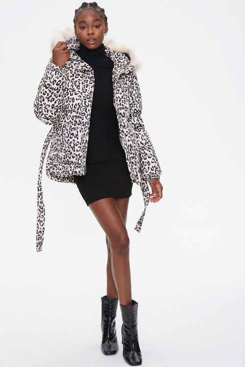 Leopard Print Puffer Jacket, image 4