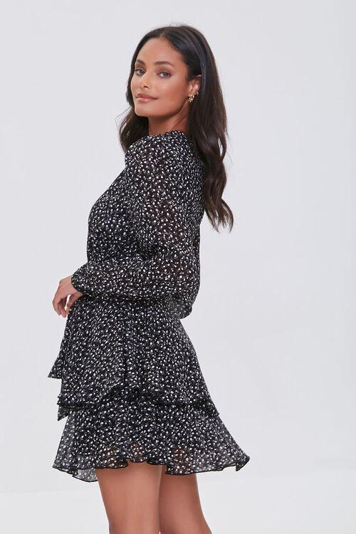 BLACK/CREAM Ditsy Floral Print Chiffon Mini Dress, image 2