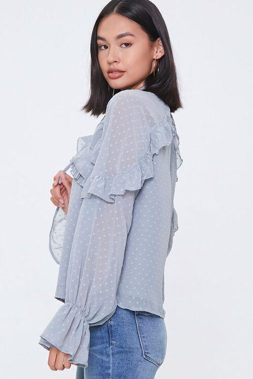 Chiffon Clip Dot Cutout Shirt, image 2