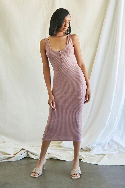 MAUVE Ribbed Knit Tank Top Dress, image 1