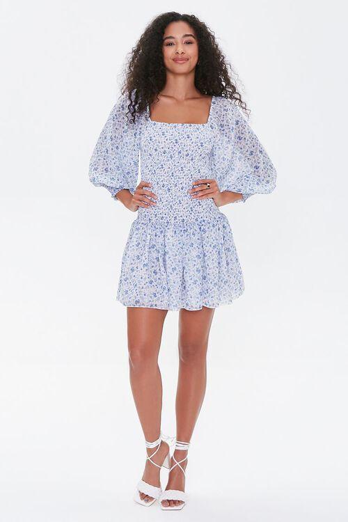 Smocked Georgette Floral Mini Dress, image 4